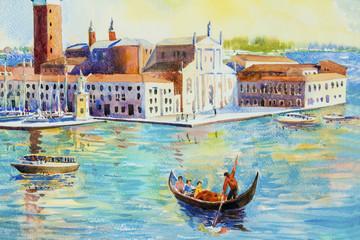 San Giorgio Maggiore island, Venice, Italy. Watercolor painting