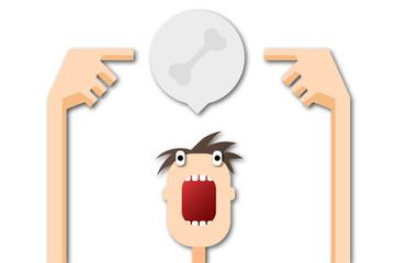 Cartoon Mann zeigt auf Sprechblase - Knochen