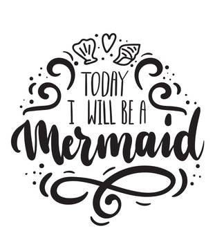 Today i will be a Mermaid card with hand drawn sea elements and lettering. Calligraphy summer quote with seashells, hearts and pearls. Summer print for invitations, posters, t-shirts, phone case etc.