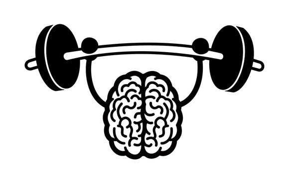 Training and exercise of intelligent, bright and clever brain - strong intelligence, cleverness and brightness. Vector illustration, comics style.