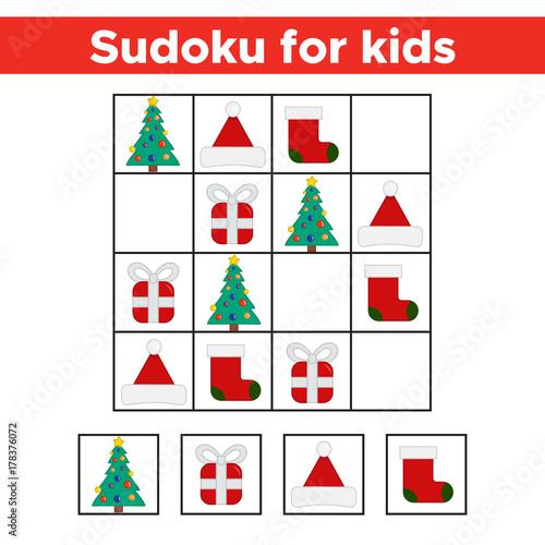 Christmas Sudoku.Funny Christmas Sudoku Game For Preschool Kids Logic And
