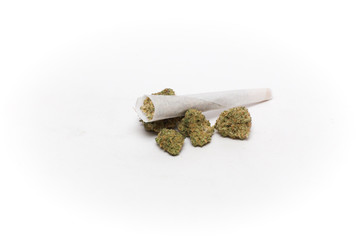 Cannabis Joint Stacked on Buds