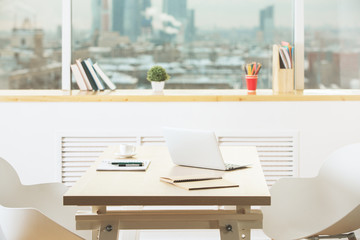 Contemporary office workplace side