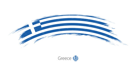 Flag of Greece in rounded grunge brush stroke.