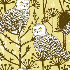 Seamless pattern with owl and winter forest, Vector hand drawn style.