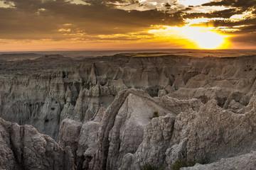 badlands, zachód, park narodowy, stany zjednoczone, ameryka,  góra, badlands, pustynia, suchy, nieużytki, płaskowyż, przygoda, pejzaż, dzień ,niebo - fototapety na wymiar