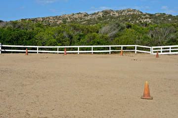 horse rectangle of riding school surrounded by nature in Sardinia