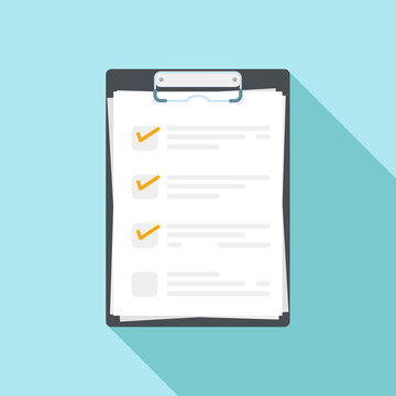 Vector illustration of clipboard with check list. Flat design with long shadow