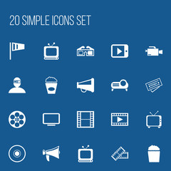Set Of 20 Editable Cinema Icons. Includes Symbols Such As Broadcast, Reel, Bullhorn And More. Can Be Used For Web, Mobile, UI And Infographic Design.