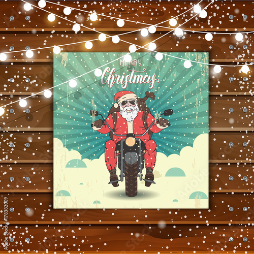 Christmas Background With Greeting Card With Hand Drawn Santa Claus On A  Motorbike With A Backpack