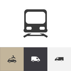 Set Of 4 Editable Transport Icons. Includes Symbols Such As Van, Wagon, Repairing And More. Can Be Used For Web, Mobile, UI And Infographic Design.