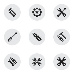 Set Of 9 Editable Service Icons. Includes Symbols Such As Options, Screwdriver, Build Equipment And More. Can Be Used For Web, Mobile, UI And Infographic Design.
