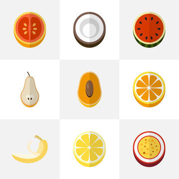 Set Of 9 Editable Fruits Flat Icons. Includes Symbols Such As Citrus, Marakuja, Melon And More. Can Be Used For Web, Mobile, UI And Infographic Design.