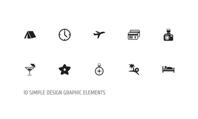 Set Of 10 Editable Trip Icons. Includes Symbols Such As Tourism, Bed, Snapshot And More. Can Be Used For Web, Mobile, UI And Infographic Design.