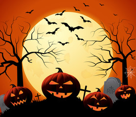 Halloween poster on orange background with smiling pumpkins. Vector illustration.