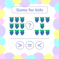 Vector illustration. Education logic game for preschool kids. Choose the correct answer. More, less or equal? BlackBerry.