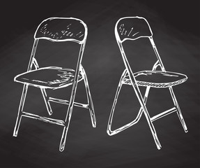 Two folding chairs hand drawn in chalk on a chalkboard. Vector illustration in a sketch style.
