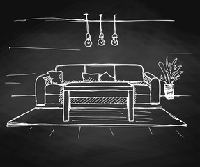 Linear sketch of an interior on the chalkboard. Room plan. Vector illustration.