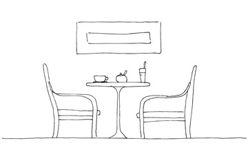 Two armchairs and a table. On the table there is a mug, a glass and a sugar bowl. Hand drawn vector illustration