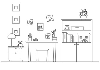 Children's room. In the corner of the room is a bed, next to a closet, table, chair. Vector illustration in a line style