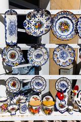 Portuguese porcelain souvenirs on sale in Batalha, Portugal