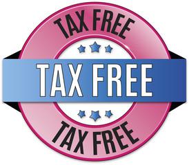blue pink round glossy tax free badge illustration