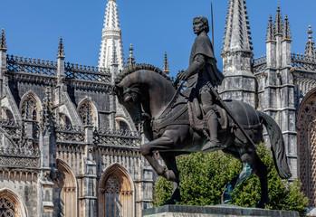 Equestrian statue of General Nuno Alvares Pereira commemorates his 1385 victory over the Castilians in the Battle of Aljubarrota. Sculpted by Leopoldo de Almeida in 1961.