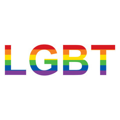 LGBT rainbow inscription. Vector illustration.