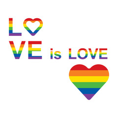 LGBT rainbow equality symbols. Love is love slogan. Vector illustration.