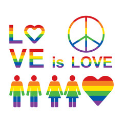 Rainbow LGBT rights icons and symbols. LGBT figures, Love is love slogan.