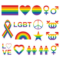 LGBT related symbols set in rainbow colors. Pride, freedom flags, hearts