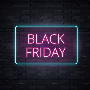Black friday sale neon frame sign light electric banner glowing on black brickwall background, vector illustration