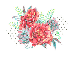 Watercolor greeting card with red roses