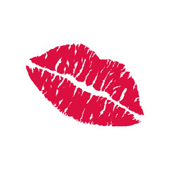 Red lipstick kiss on white background. Realistic vector illustration. Image trace.