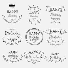 Hand Drawn Happy Birthday Typographic Set. Vector Illustration.