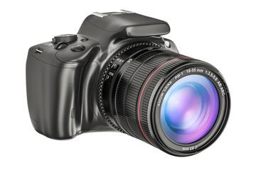 Digital single-lens reflex camera, closeup. 3D rendering