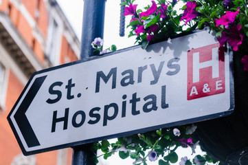 Sign for St. Mary's Hospital, London
