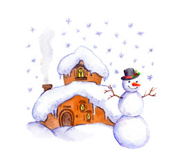 Snowman and winter house. Watercolor