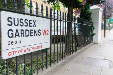 Road sign for Sussex Gardens, City of Westminster, London