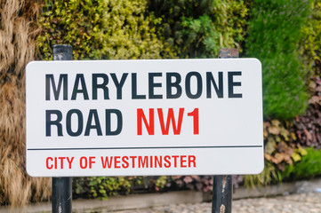 Road sign for Marylebone Road, City of Westminster, London