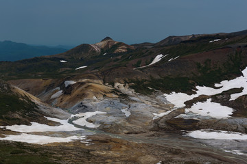View on the poisonous Ohachidaira caldera in Daisetsuzan National Park, Hokkaido, Japan