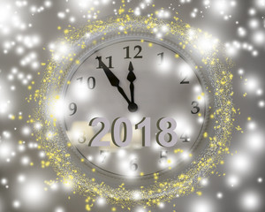 The clock on the wall is white. Five minutes left until the new year.