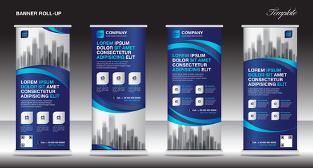 Roll up banner stand template design, blue banner layout, advertisement, pull up, polygon background, vector illustration, business flyer, display, x-banner, flag-banner, infographics, presentation