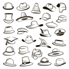 collection of different types of hats and caps
