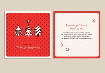 Christmas Card Layout with Tree Illustrations