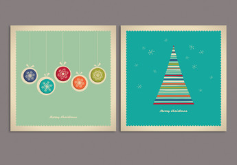 Christmas Greeting Card Set with Tree and Ornament Illustrations
