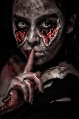 Zombie woman, Horror background for halloween concept and book cover ideas with copy space.