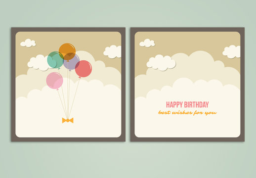 Birthday Card with Cloud and Balloon Illustrations