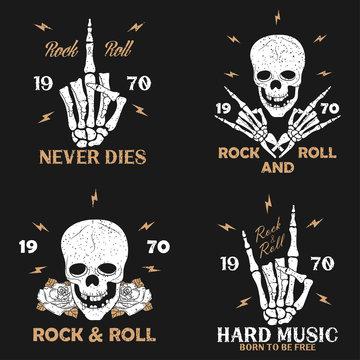 Rock music grunge print for apparel with skeleton hand, skull and rose. Vintage rock-n-roll t-shirt graphics set. Design for typography clothes emblem collection. Vector illustration.