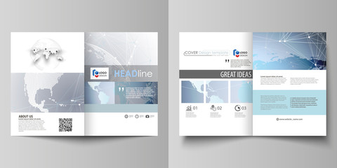 The minimalistic vector illustration of the editable layout of two A4 format modern covers design templates for brochure, flyer, report. Technology concept. Molecule structure, connecting background.